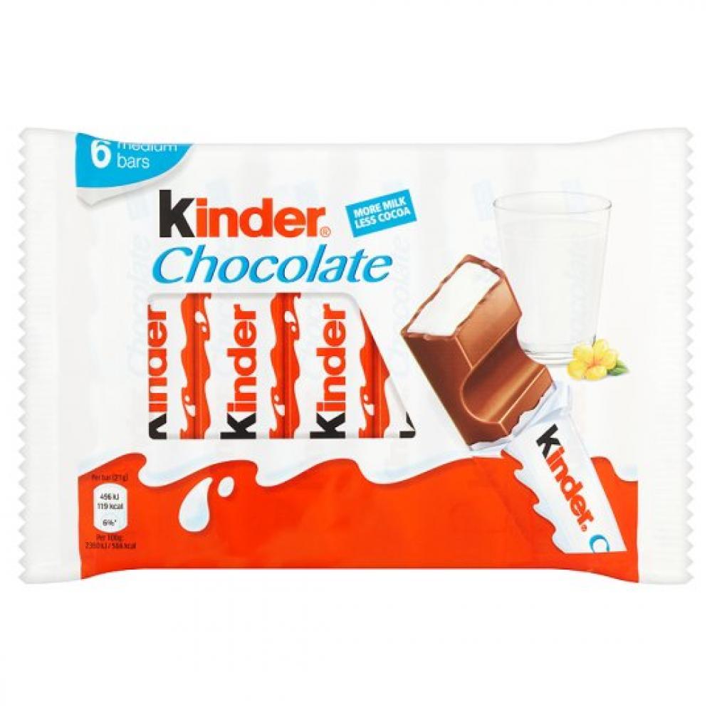 Kinder 6 Medium Chocolate Bars 126g