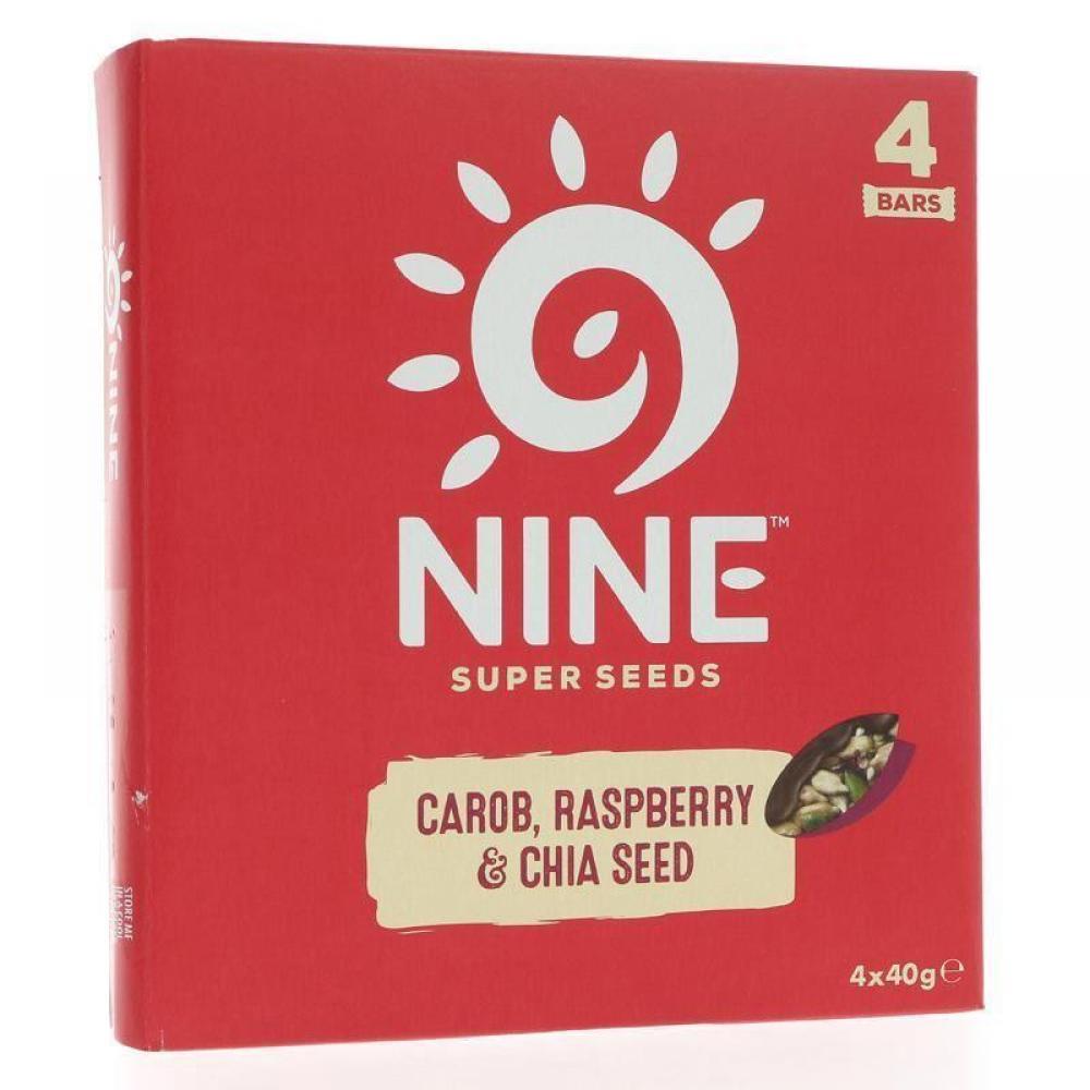 9Nine Super Seeds Carob Raspberry and Chia Seed Bar 40g x 4