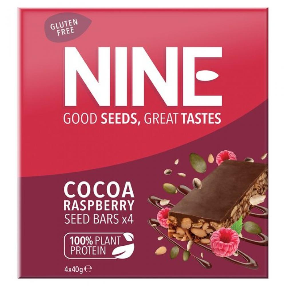 9Nine Super Seeds Cocoa and Raspberry Seed Bar 40g x 4