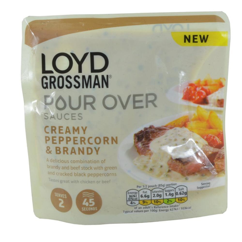 Loyd Grossman Pour Over Sauce Creamy Peppercorn and Brandy 170g
