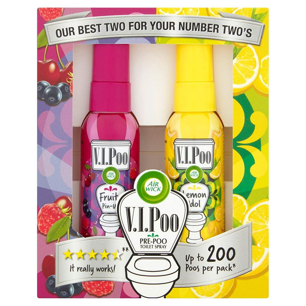 Air Wick ViPoo Pre-Poo Toilet Spray Gift Pack Lemon Idol And Fruity Pin-Up 2 x 55 ml