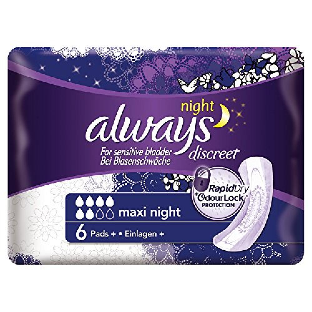 Always Discreet Incontinence Pads Maxi Night For Sensitive Bladder 6 pads