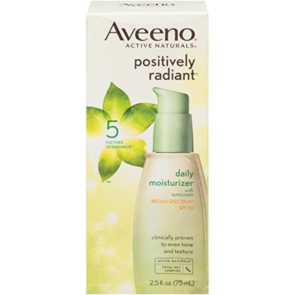 EXP. DATE 102019  Aveeno Active Naturals Positively Radiant Daily Moisturizer SPF-30 UVAUVB Sunscreen 75 ml