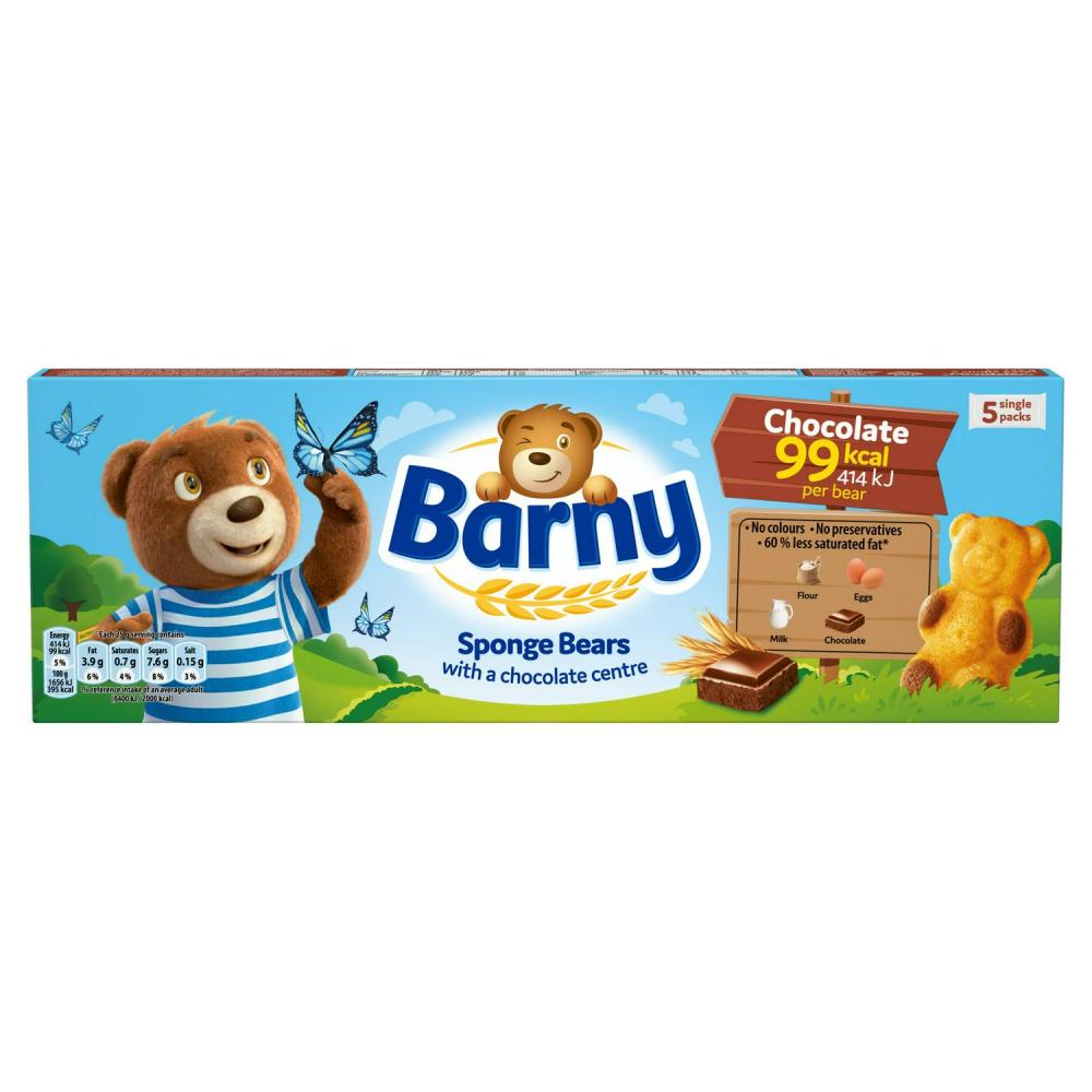 Barni Chocolate Filled Bear Shaped Cakes 5 x 30g