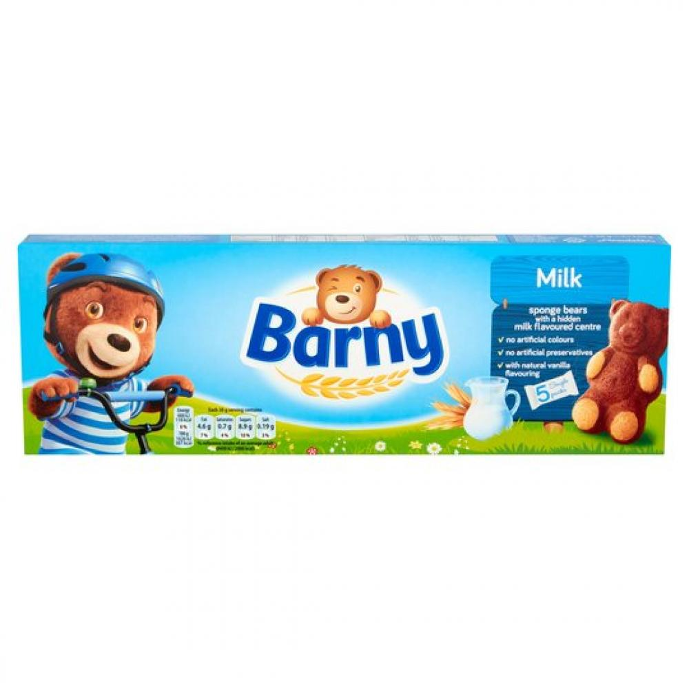 SALE  Barni Milk Filled Bear Shaped Cake Bars 5 x 30g