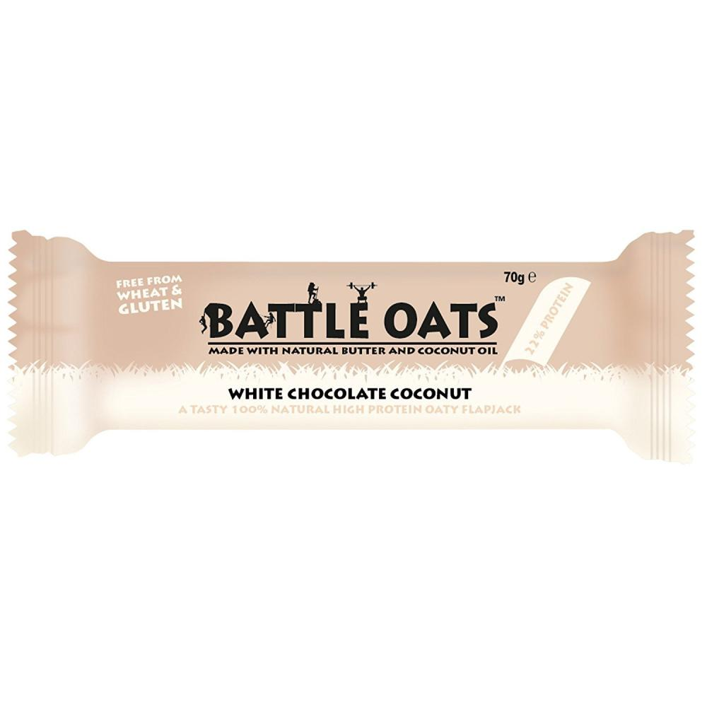 Battle Oats Gluten Free White Chocolate Coconut Flavour Protein Bar 70 g