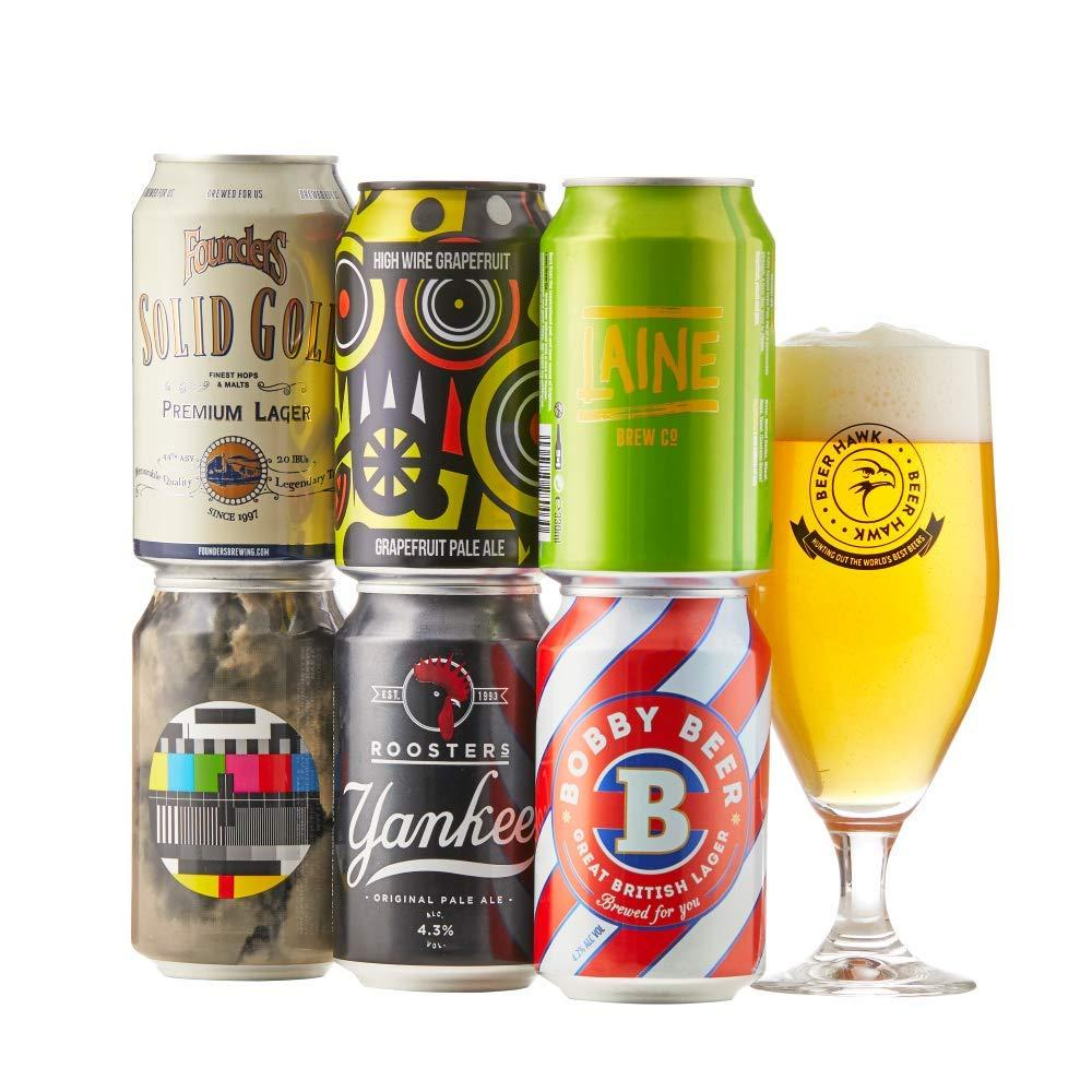 Beer Hawk Craft Beer Cans Gift Hamperase of 6 Beers and a Glass