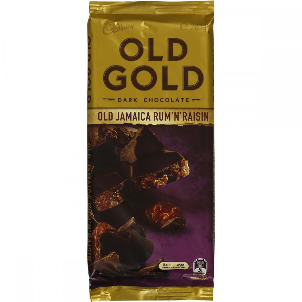 Cadbury Old Gold Dark Chocolate Old Jamaica Rum And Raisin 200g