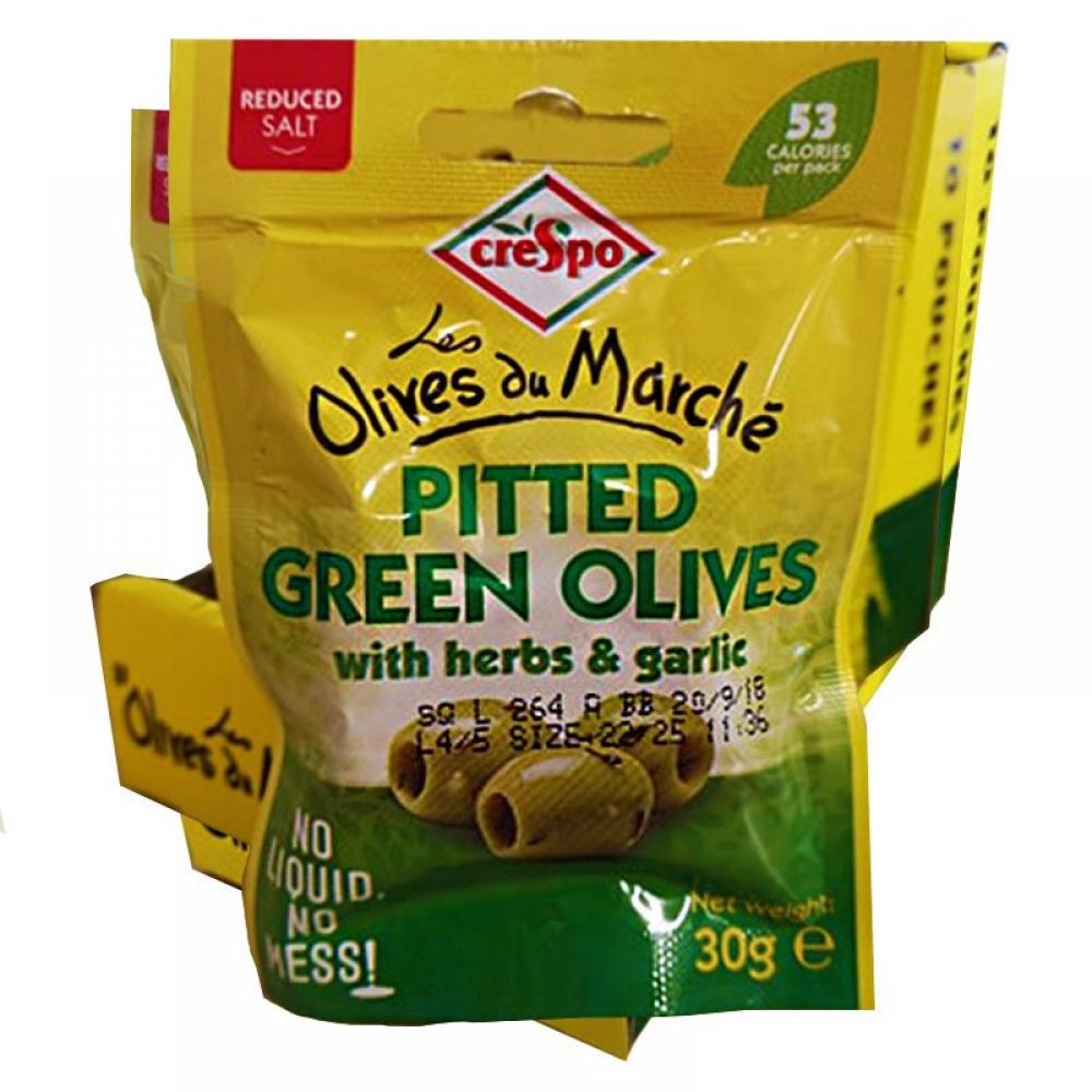CASE PRICE  Crespo Pitted Green Olives With Herbs and Garlic 10 x 30g