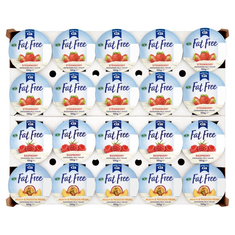 CASE PRICE  Golden Acre Mixed Flavour Fat Free Ambient Yoghurt 20 x 100g