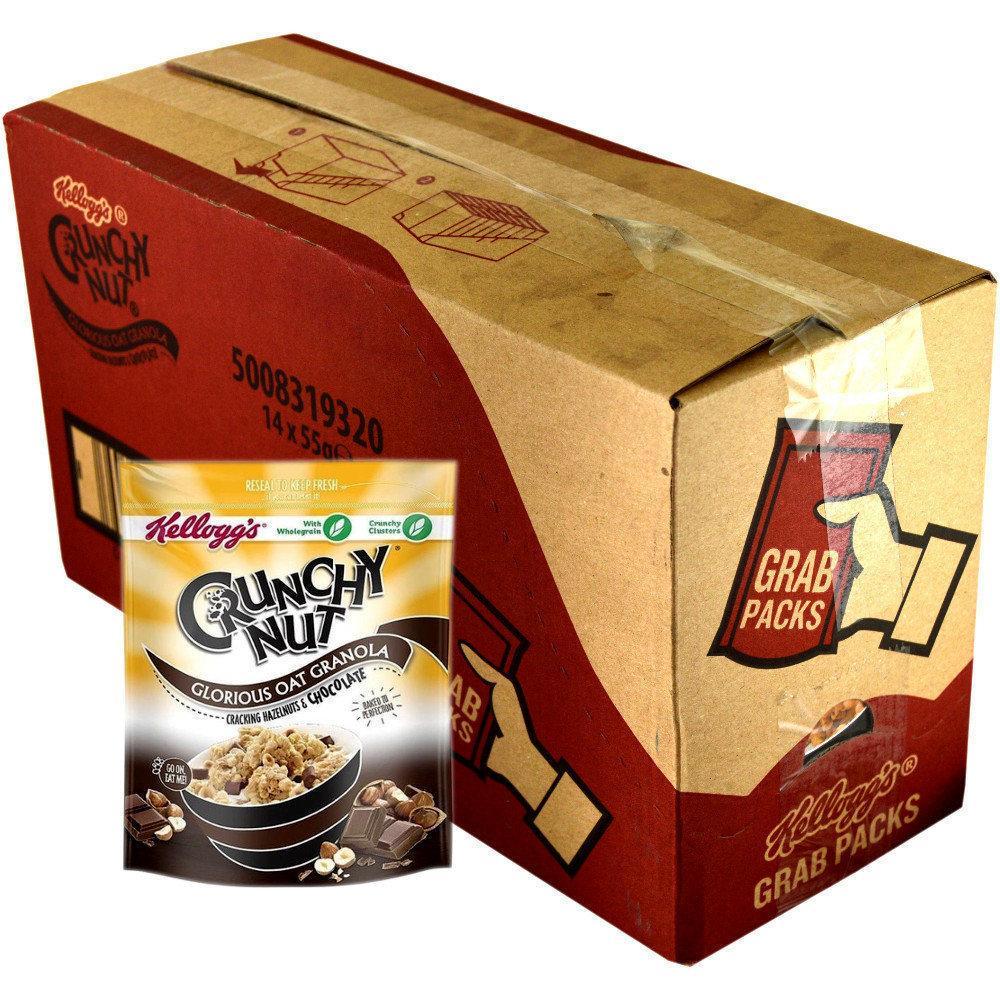 CASE PRICE  Kelloggs Crunchy Nut Oat Granola Chocolate and Hazelnut 55g x 14