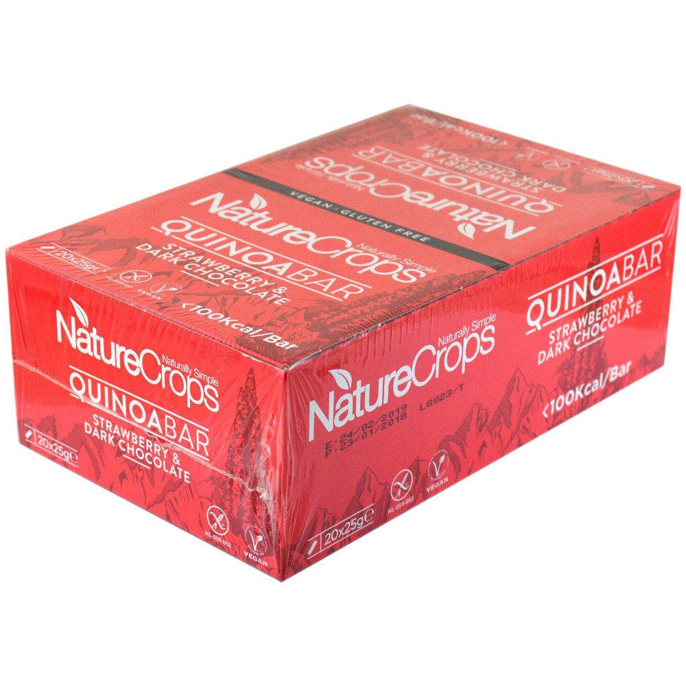 CASE PRICE  Nature Crops Organic Gluten Free Strawberry and Chocolate Quinoabar 25g x 20
