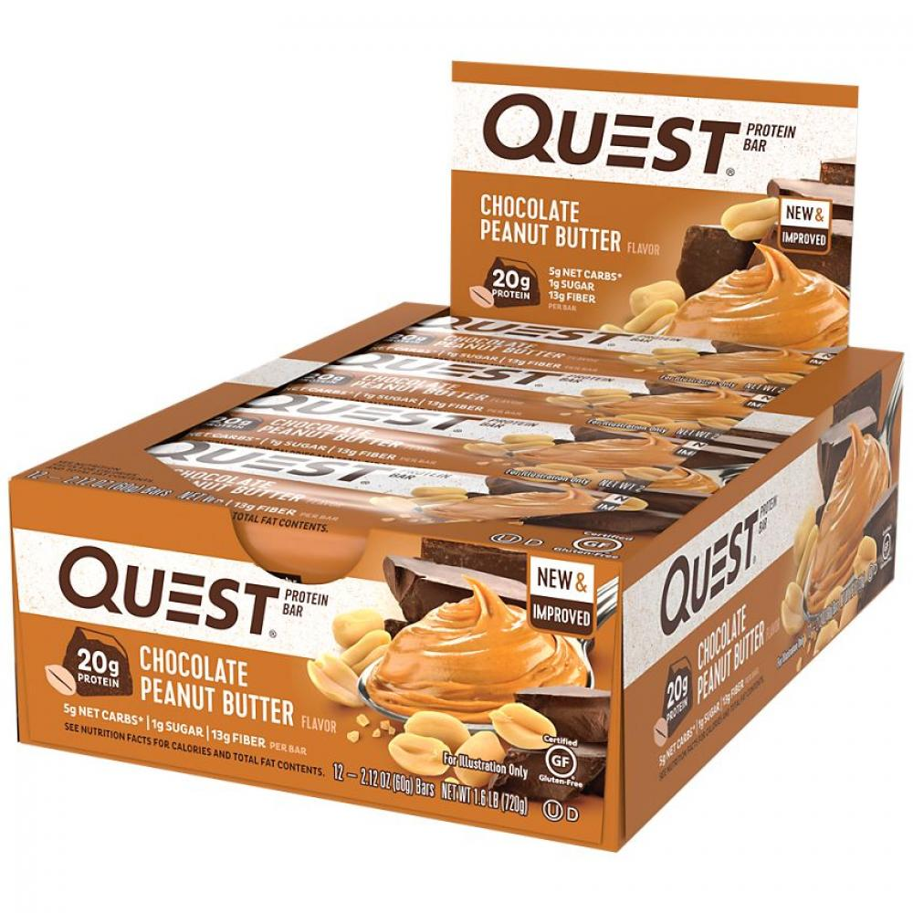 CASE PRICE  Quest Bar Chocolate Peanut Butter Flavour Protein Bar 60g x 12