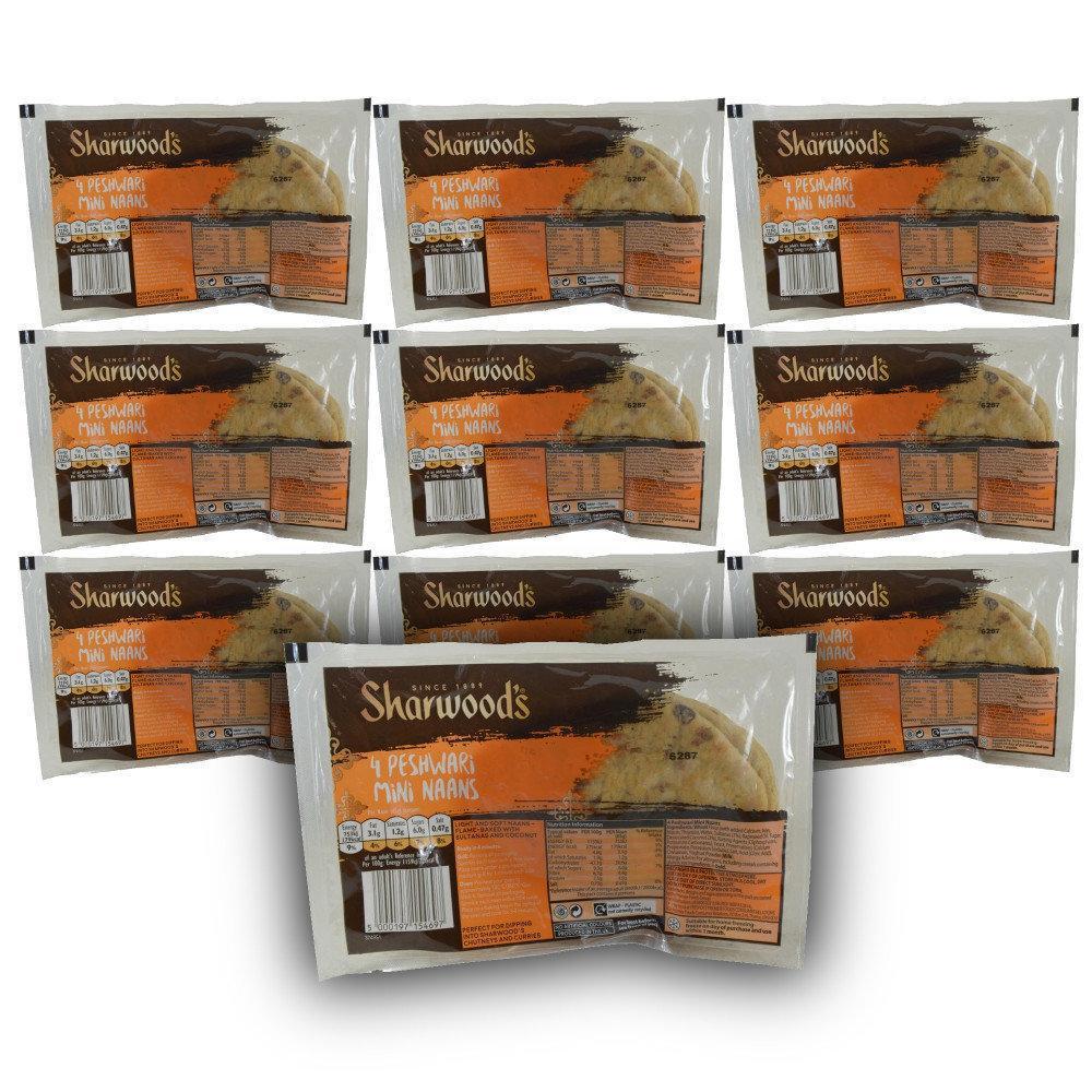 CASE PRICE  Sharwoods 4 Peshwari Mini Naans x 10 packs