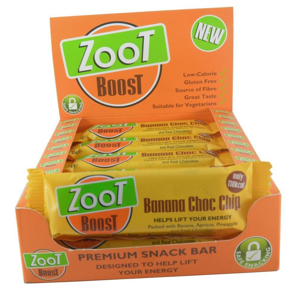 CASE PRICE  Zoot Boost Banana Choc Chip Snack Bar 35g x 20