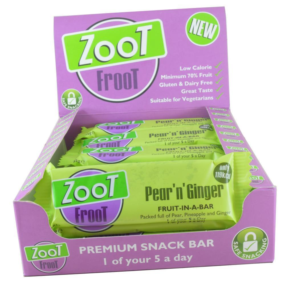 CASE PRICE  Zoot Froot Pear N Ginger Snack Bar 35g x 20