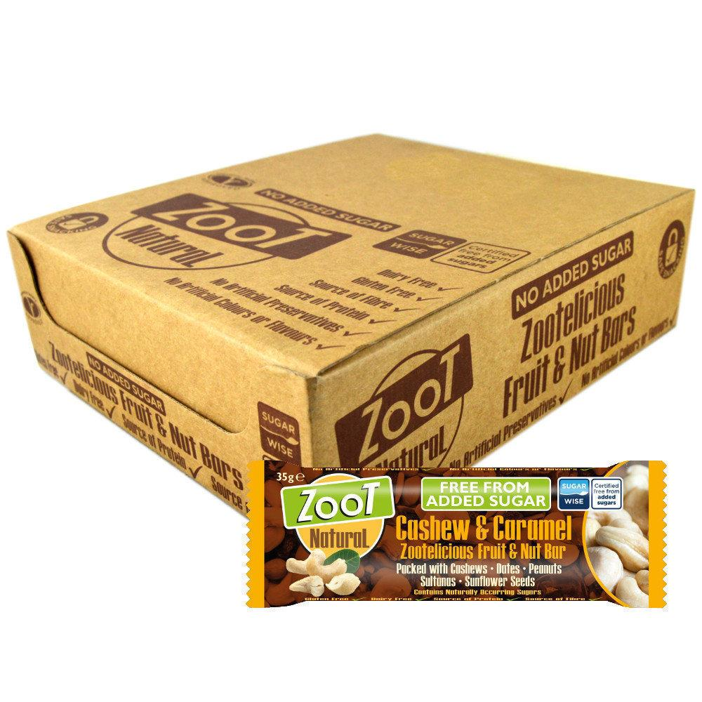 CASE PRICE  Zoot Natural Cashew and Caramel Fruit and Nut Bar 35g x 20