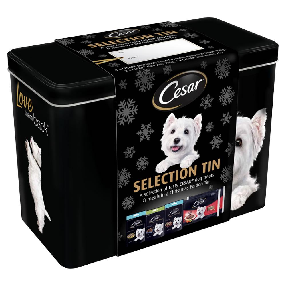 WEEKLY DEAL  Cesar Christmas Dog Treat Gift Tin 1.075kg