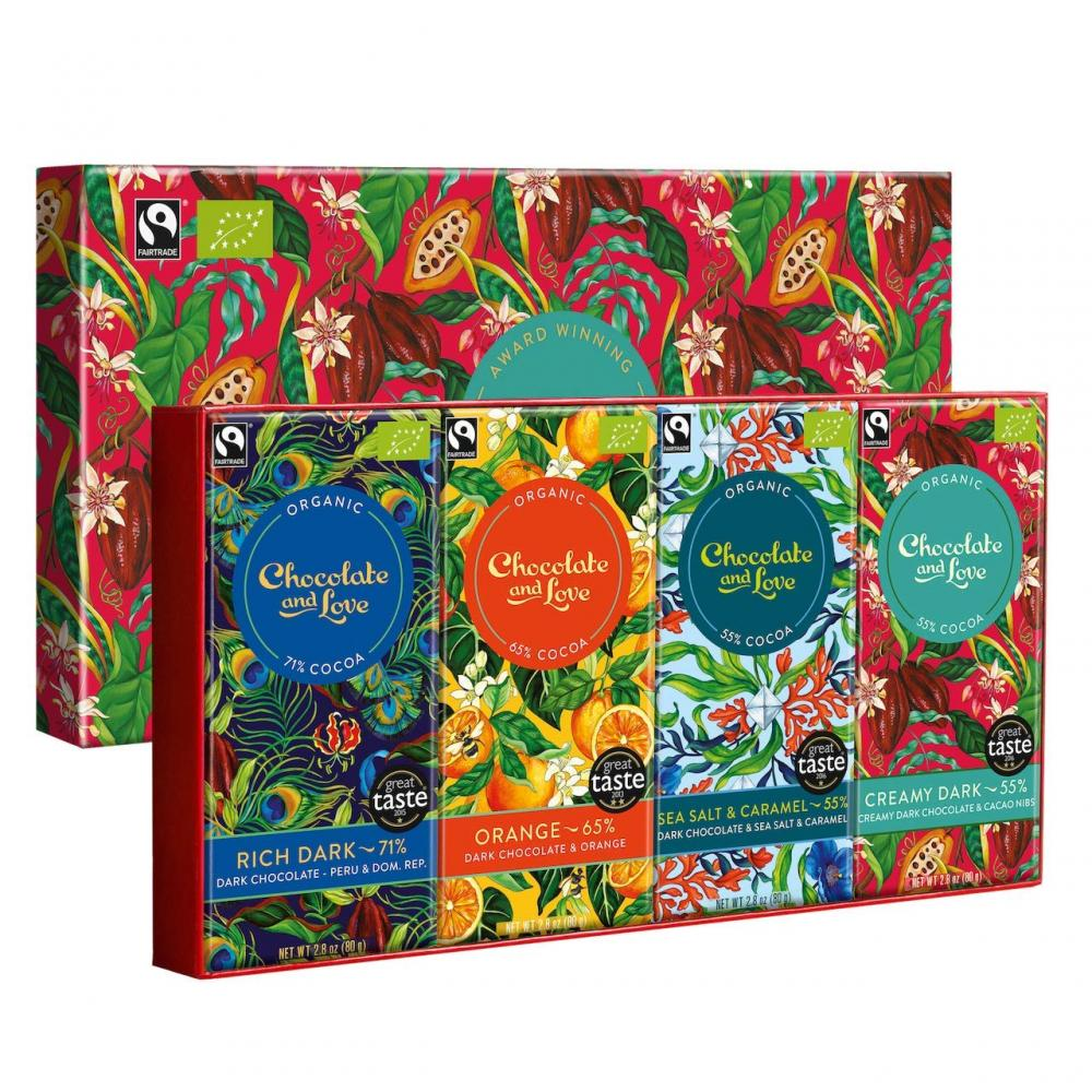 Chocolate and Love Organic And Fairtrade Chocolates Bars x4