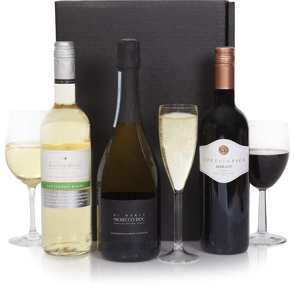 Clearwater Hampers Luxury Wine and Prosecco Hamper - Three Bottles 3x75cl