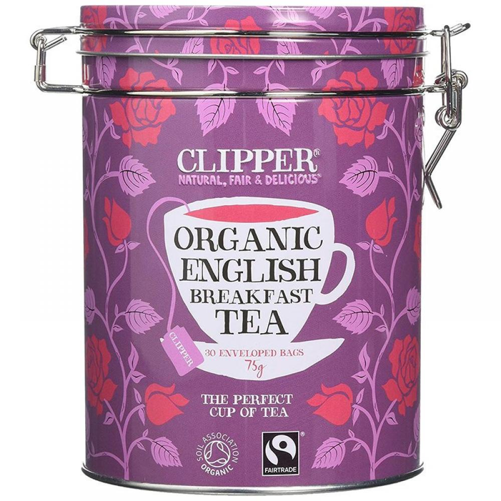 Clipper Organic Tea Gift Caddy Envelopes English Breakfast 30 Count