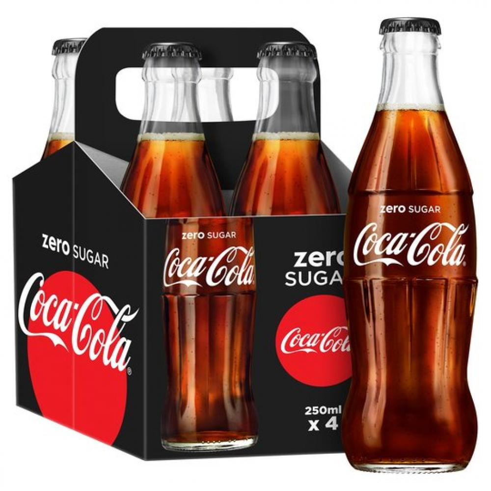 Coca Cola Zero Glass Bottle 4 x 250ml