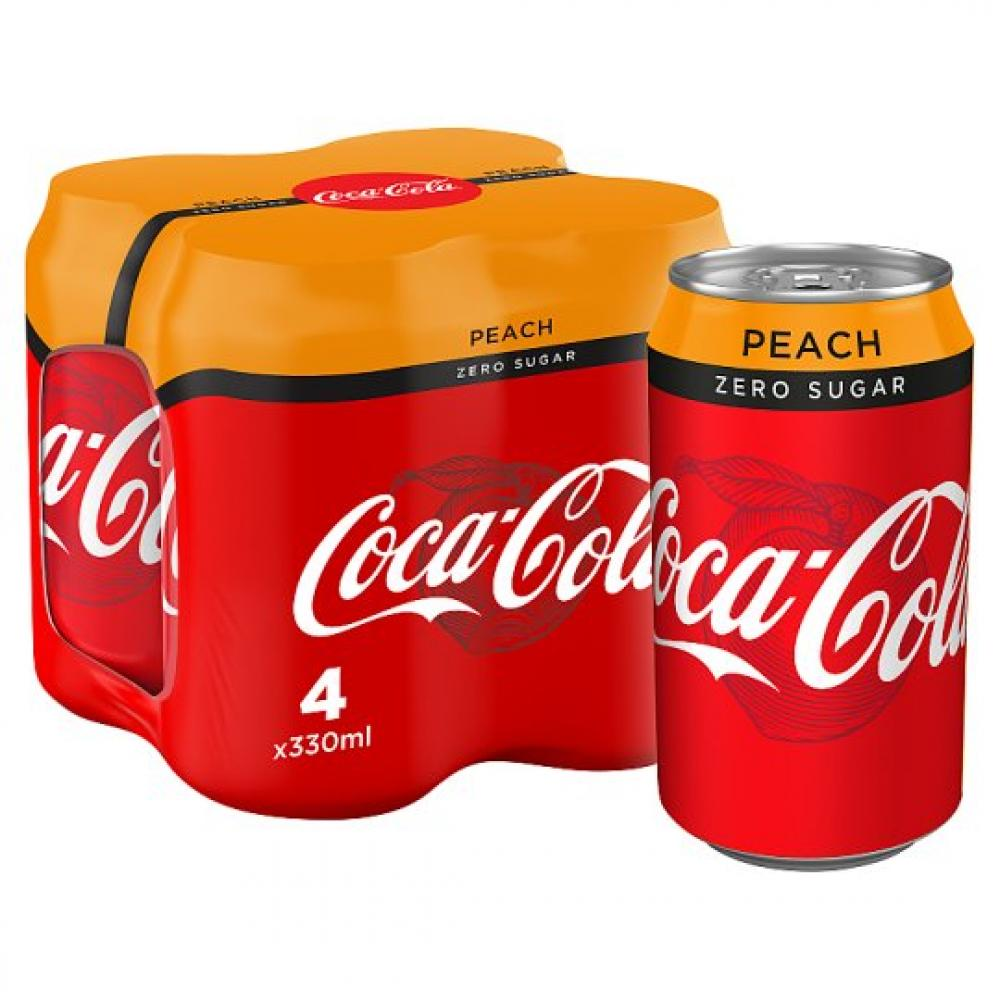 Coca Cola Zero Peach 330ml x 4