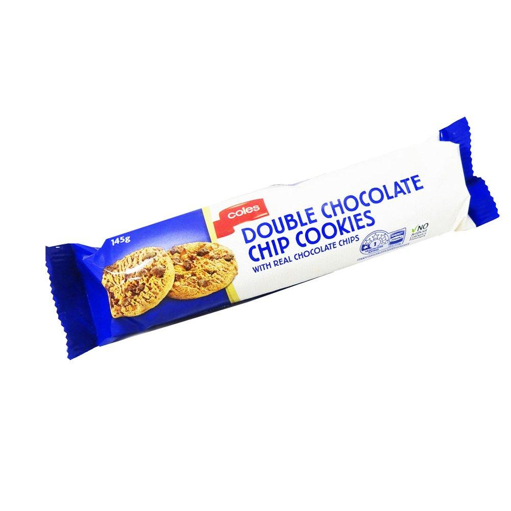 Coles Double Chocolate Chip Cookies 145g