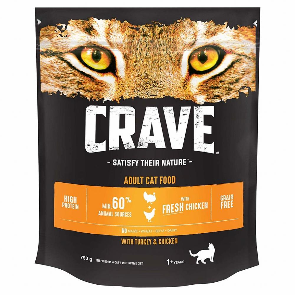 Crave Cat Dry Food with Turkey and Chicken 750g