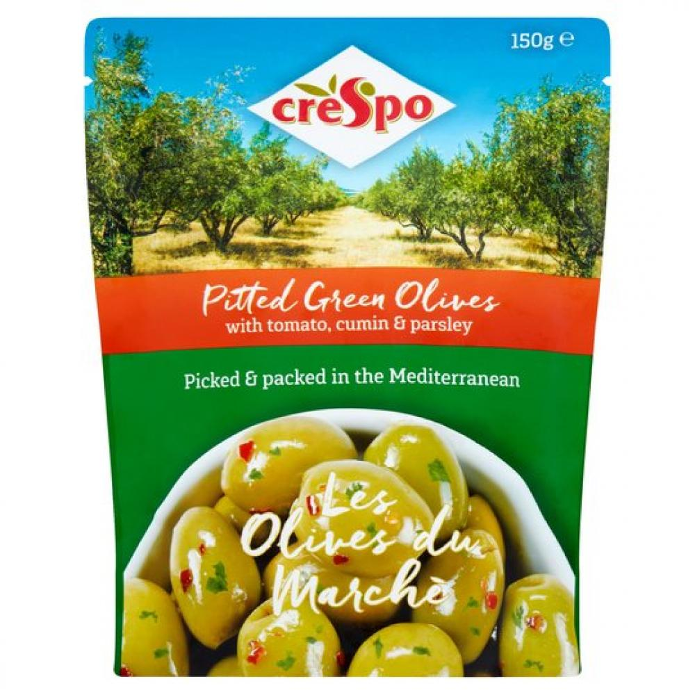 Crespo Pitted Green Olives With Tomato Cumin and Parsley 150g