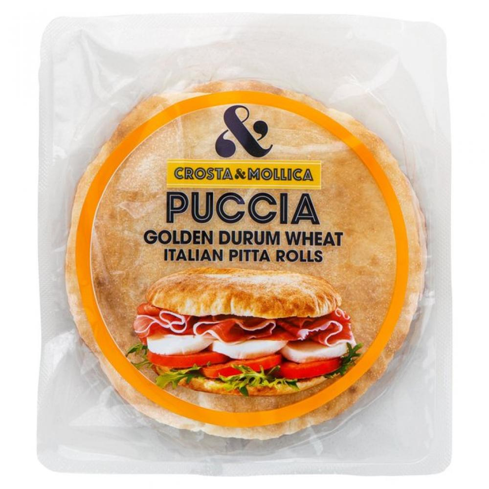 Crosta and Mollica Puccia Golden Durum Wheat Italian Pitta Rolls 2 x 230g