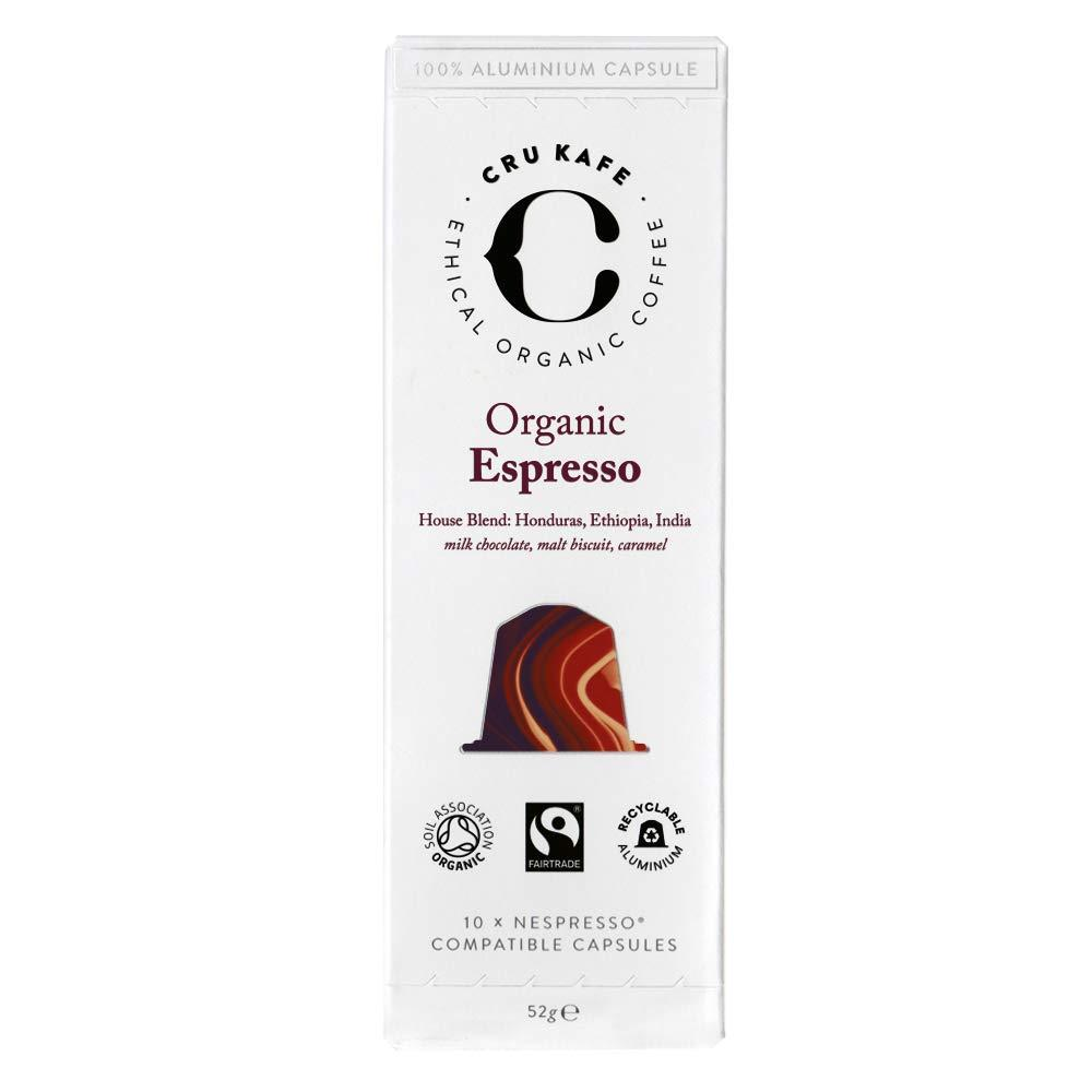 CRU Kafe Organic Espresso Nespresso Compatible Coffee Pods 10 Capsules 52g