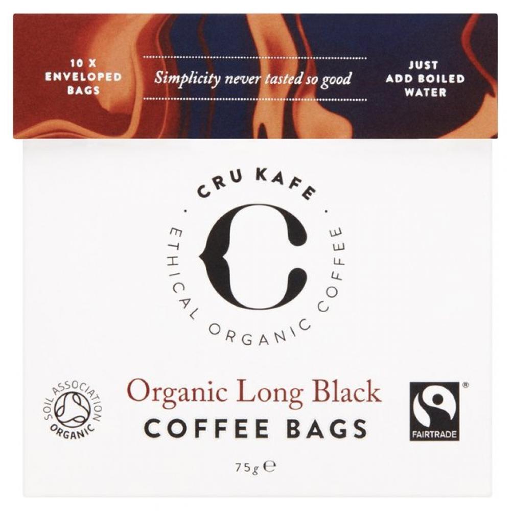 CRU Kafe Organic Long Black Coffee Bags 75g