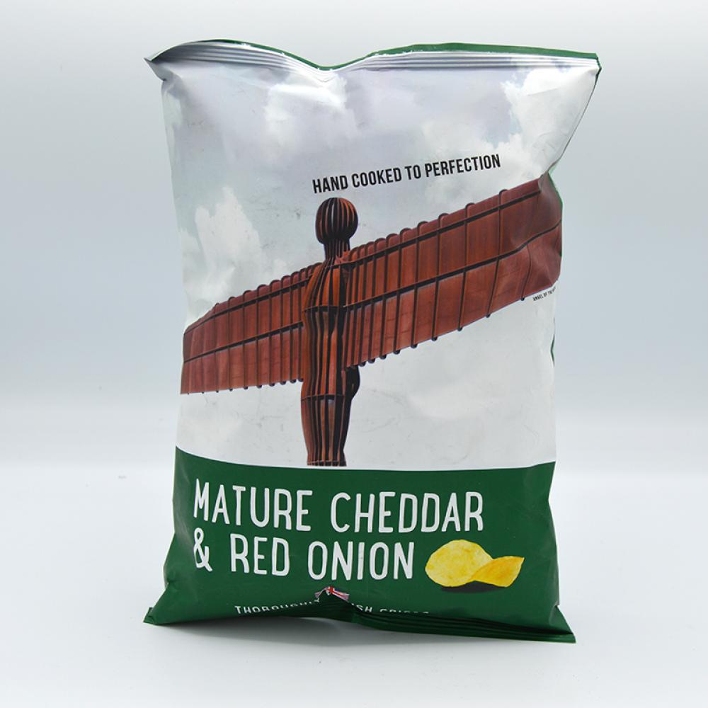 De Identified Mature Cheddar and Red Onion Crisps 150g