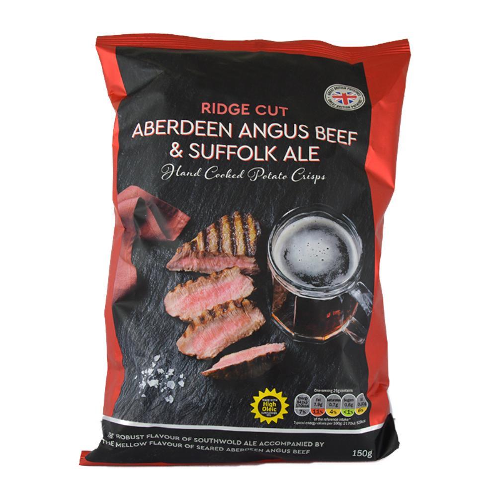 De Identified Ridge Cut Aberdeen Angus Beef and Suffolk Ale Crisps 150g