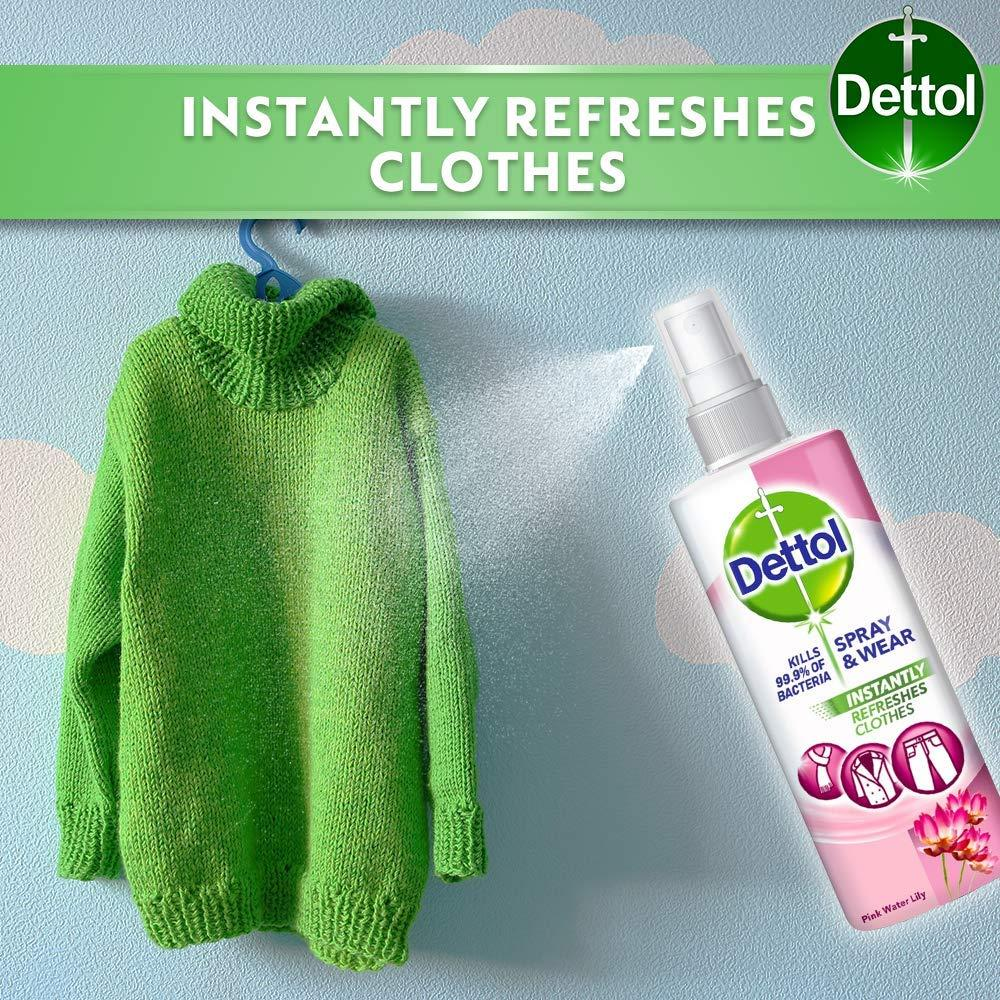 Dettol Spray and Wear Fabric Clothes Freshener Spray Pink Water Lily 250 ml