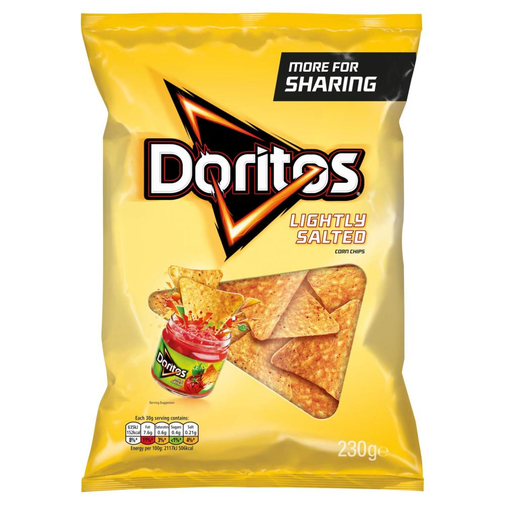 TODAY ONLY  Doritos Lightly Salted Tortilla Chips 230 g