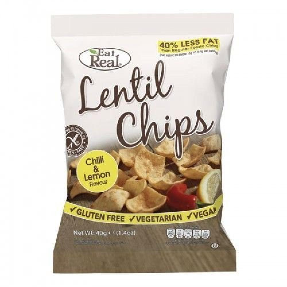 Eat Real Lentil Chilli and Lemon Chips 40 g