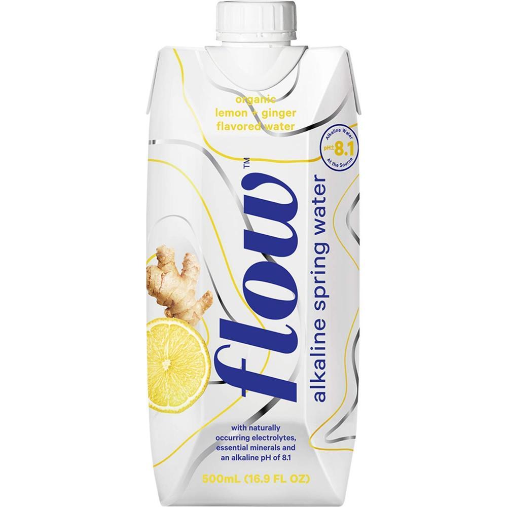 Flow Alkaline Spring Water Organic Lemon and Ginger Flavoured Water 500ml
