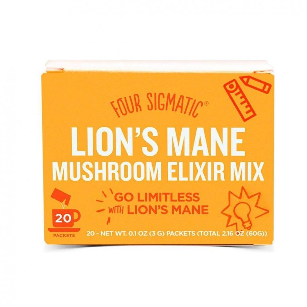 Four Sigma Foods Lions Mane Mushroom Elixir Mix with Sweet Herbs 20 Sachets