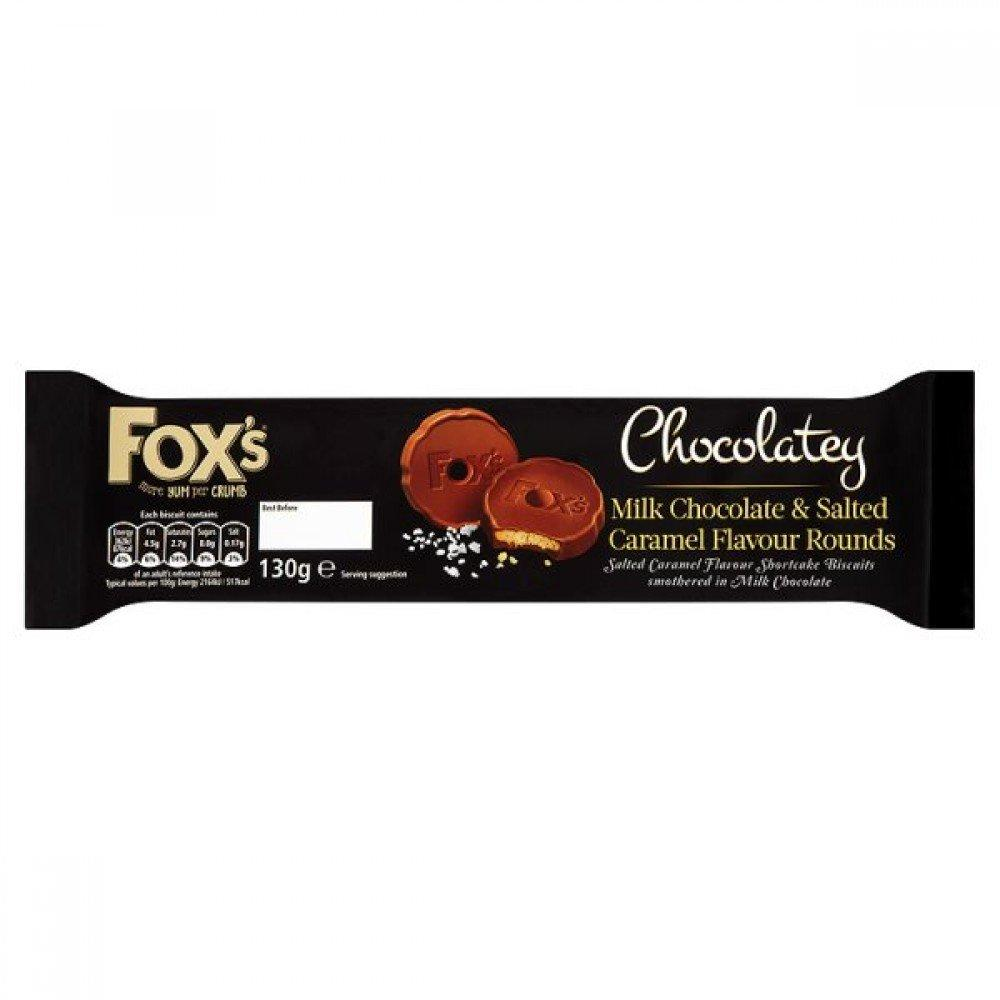 Foxs Chocolatey Rounds Milk Chocolate and Salted Caramel 130g