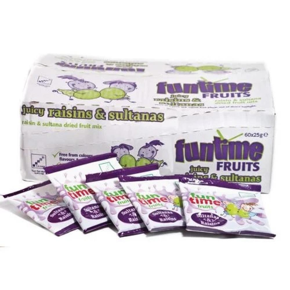 CASE PRICE  Funtime Fruits Raisins and Sultanas 60 x 25g