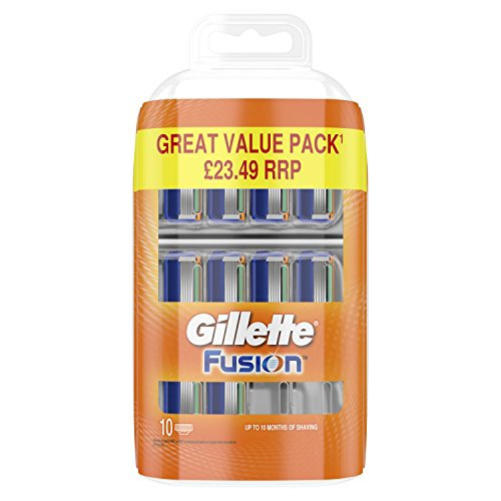 WEEKLY DEAL  Gillette Fusion Mens Razor Blades Pack of 10 Refills