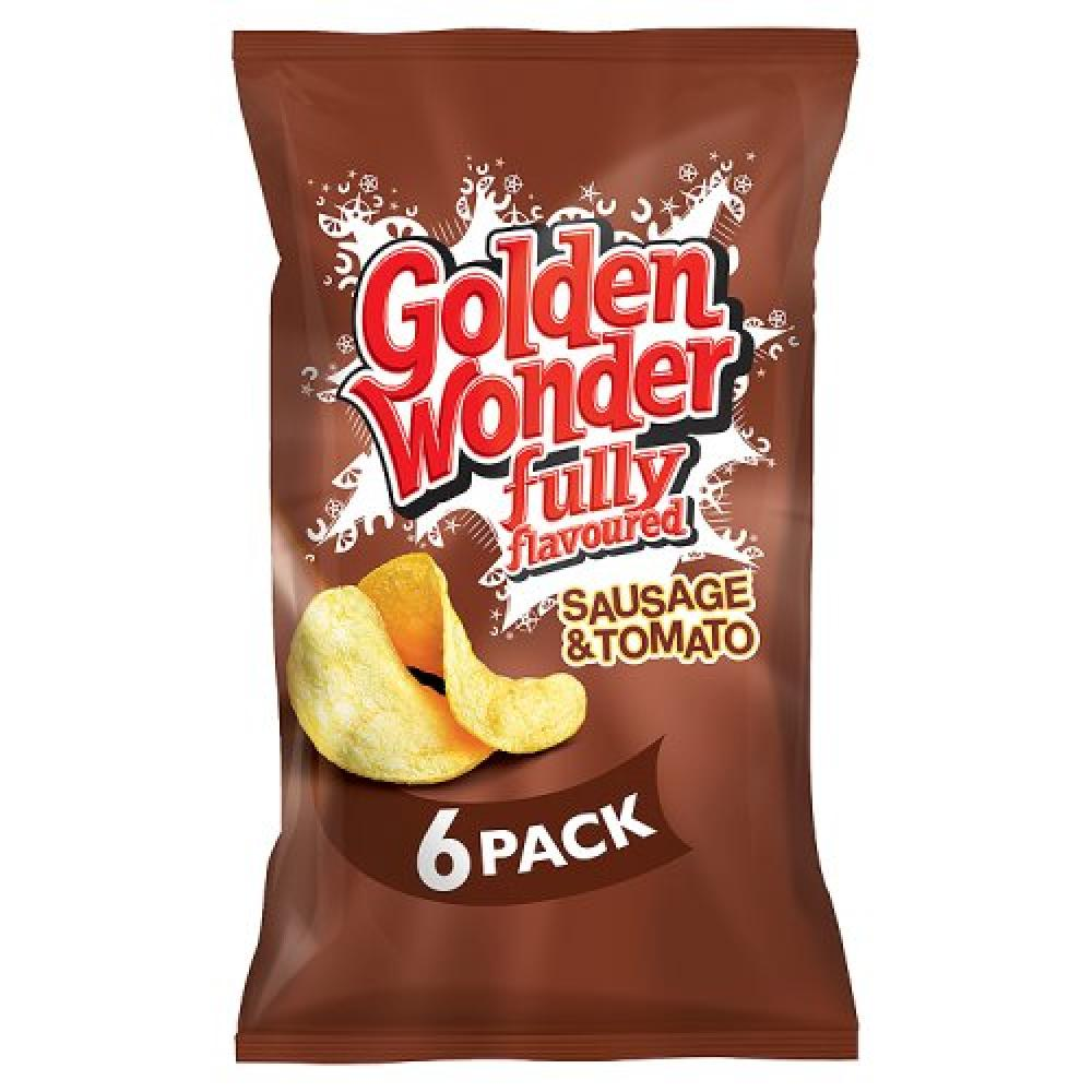Golden Wonder Sausage and Tomato Flavour Crisps 25g x 6