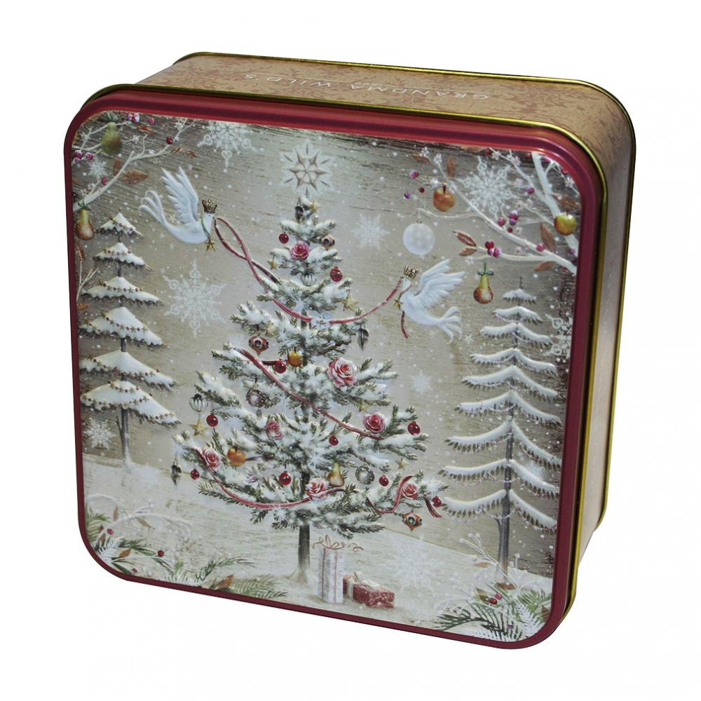 Grandma Wilds Embossed Christmas Tree with Turtle Doves Biscuit Tin 160g