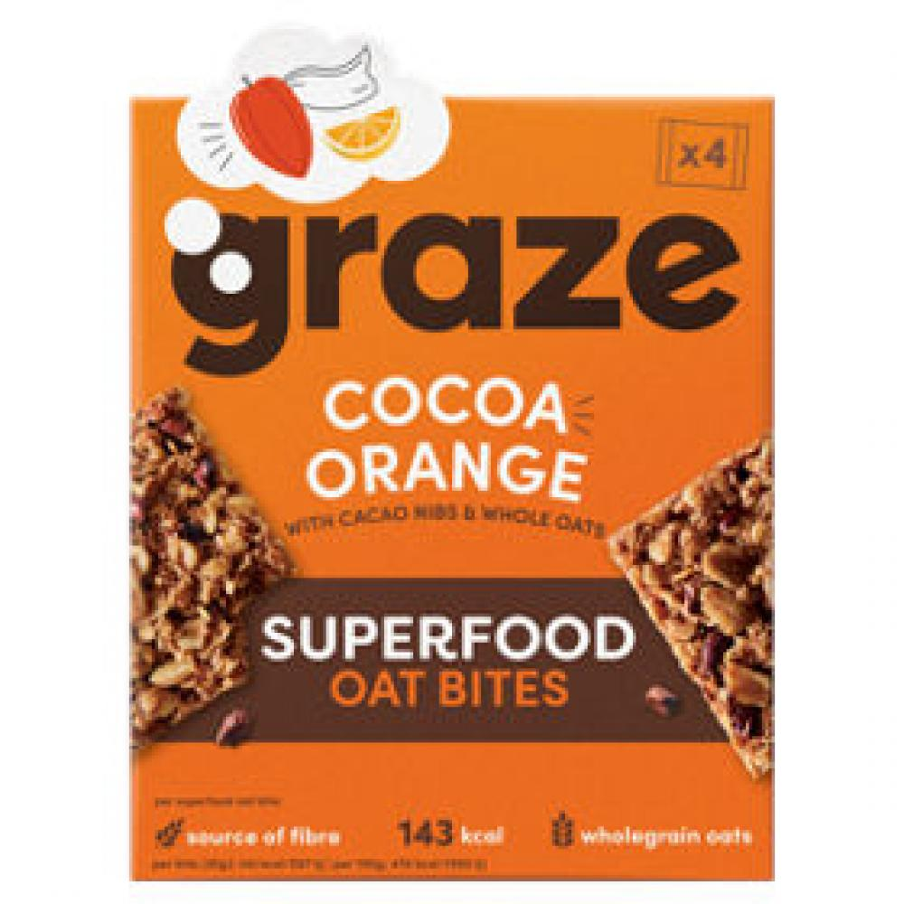 Graze Cocoa Orange Superfood Oat Bites 4x30g
