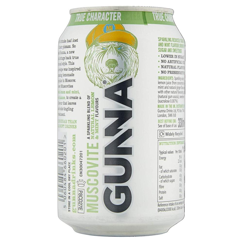 Gunna Muscovite Lemon and Mint 330ml