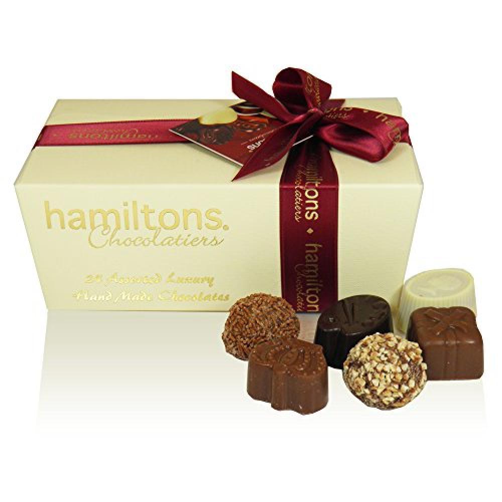 Hamiltons Ivory Luxury Belgian Ballotin 24 Handmade Chocolates Gift Box