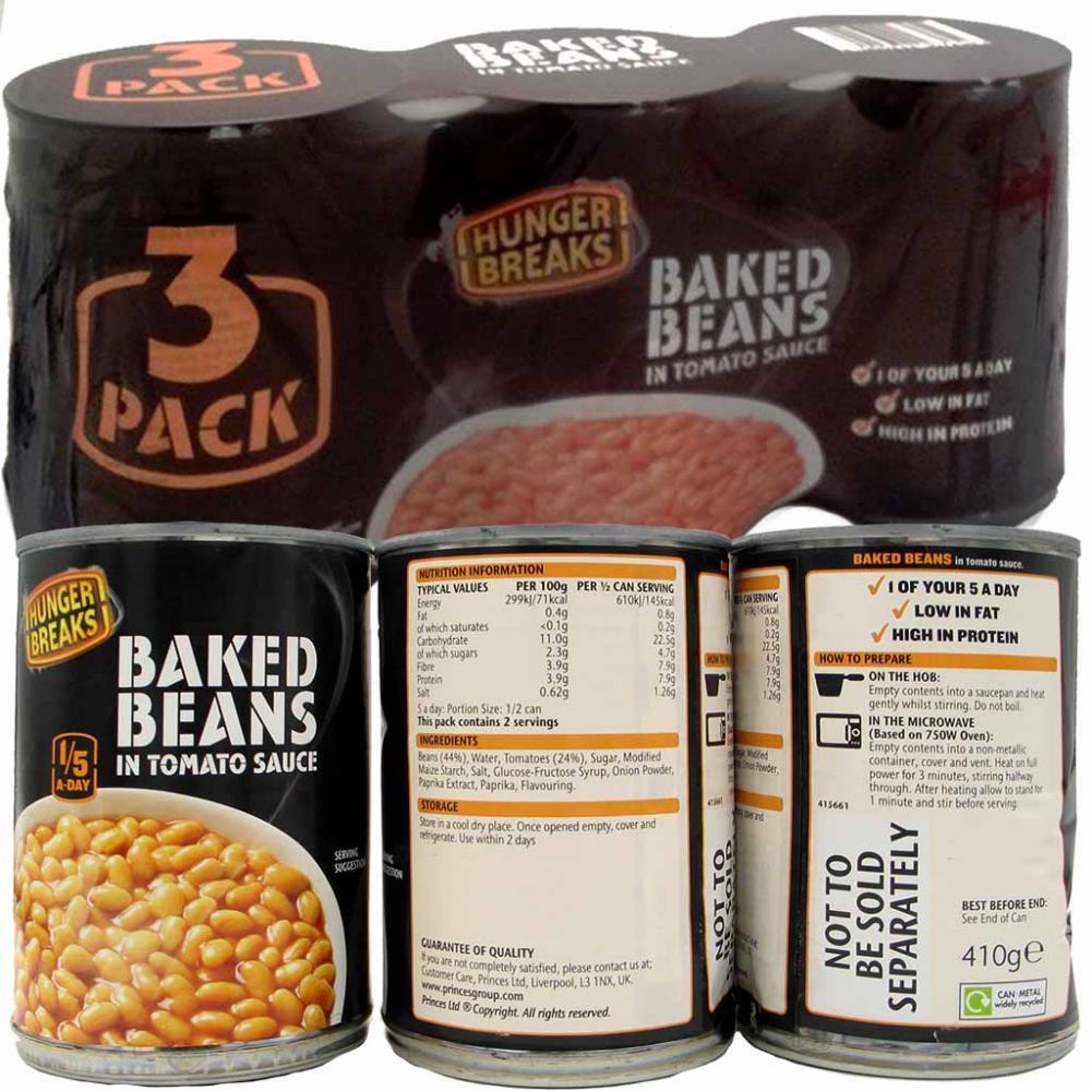 Hunger Breaks Baked Beans 410g x 3