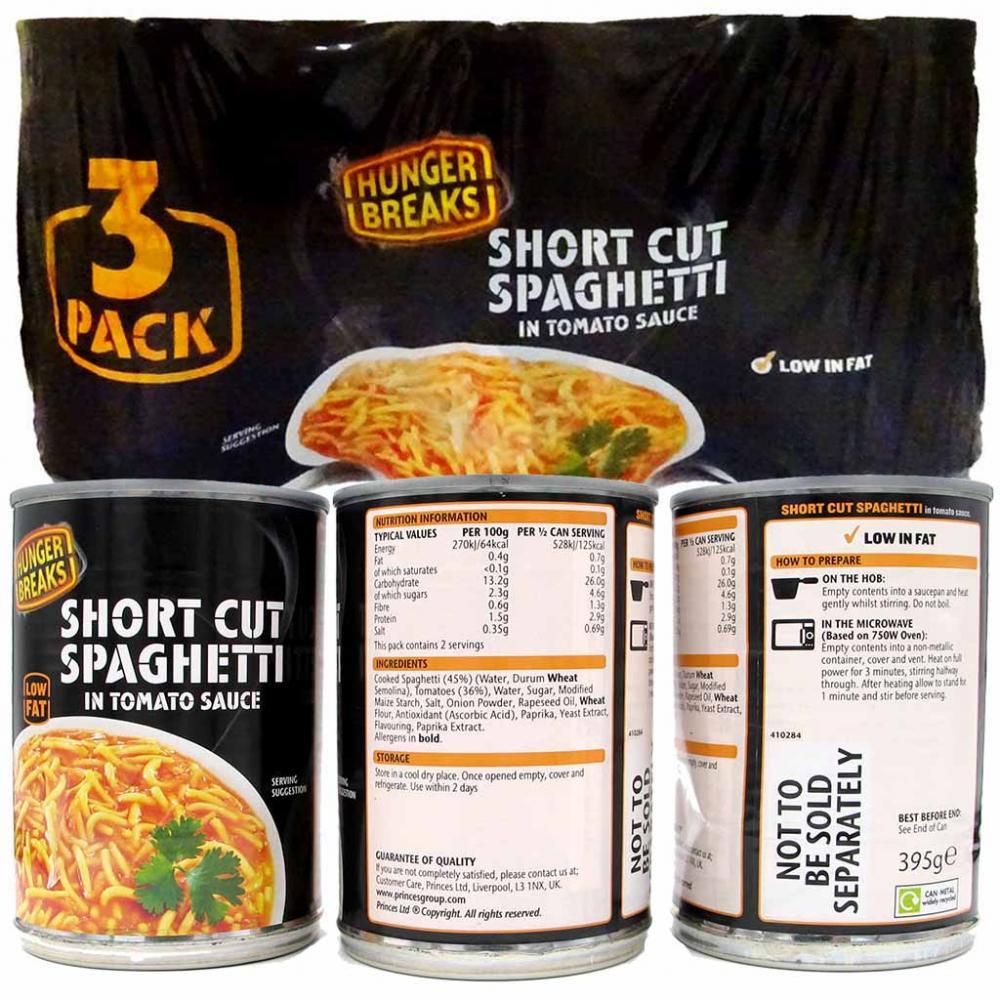 Hunger Breaks Short Cut Spaghetti in Tomato Sauce 395g x 3